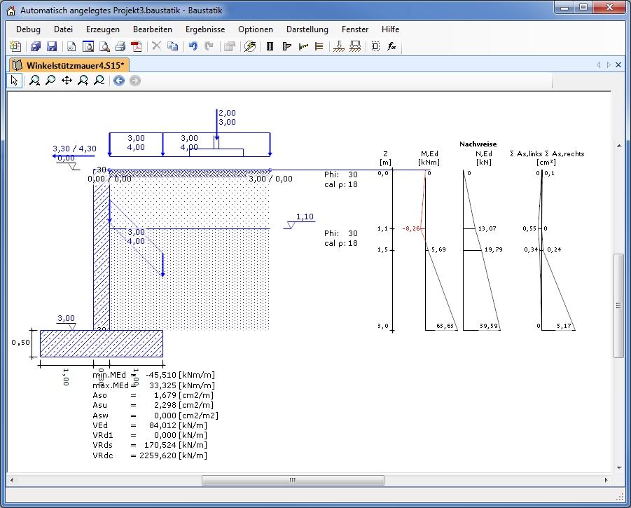 Einleitung zur winkelst tzmauer d i e statik software for Statik beispiele